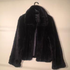 "Forever 21 faux black fur coat size S length 26"""